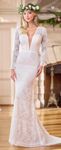 This Bohemian beauty is a head-turning stretch lace fit and flare gown offering illusion lace long sleeves, a dramatically deep plunging V-neck with illusion inset, an unlined lace open back with a bandeau strap and pearl button accents, and a sweep train.  SIZES 0 - 20  COLORS Ivory/Champagne, Ivory, White